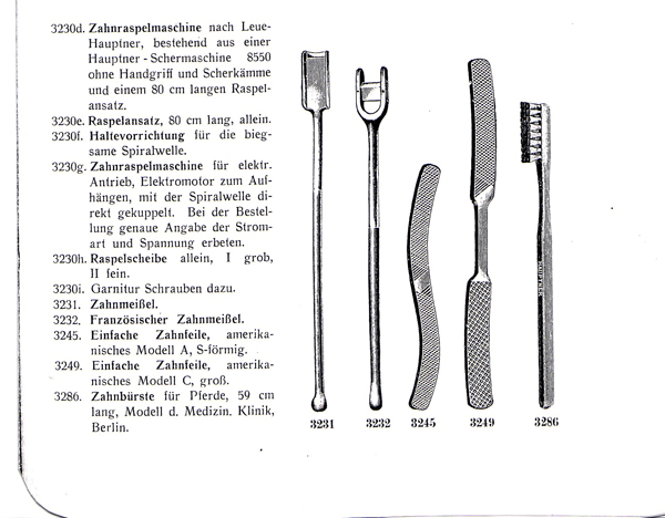 Zahninstrumente aus dem Hauptner-Katalog von 1912